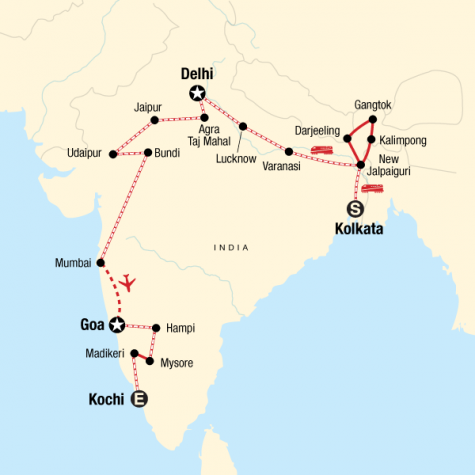 Kolkata to Kochi by Rail - Tour Map