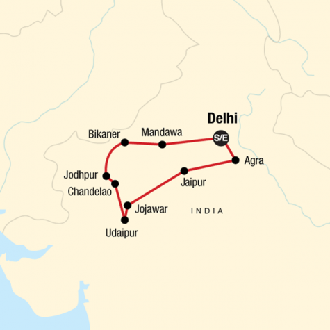 Mysteries of India - Tour Map