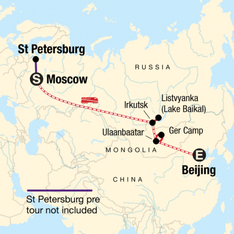 Trans-Mongolian Adventure - Tour Map