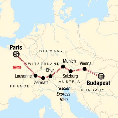 Europe by Rail with the Glacier Express - Tour Map