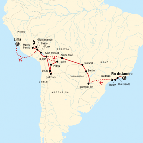 Southern Cross Westbound - Rio to Lima - Tour Map