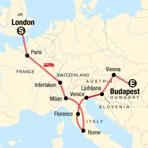 London to Budapest on a Shoestring - Tour Map