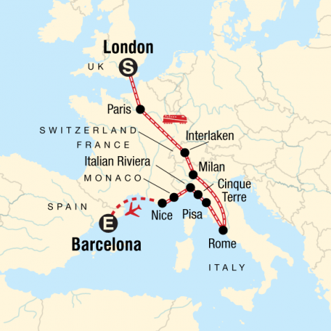 London to Barcelona on a Shoestring - Tour Map