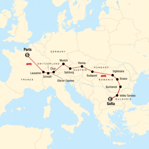 Paris to Sofia by Rail - Tour Map