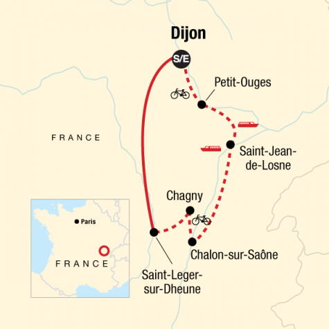 Burgundy River Cruise Adventure - Tour Map