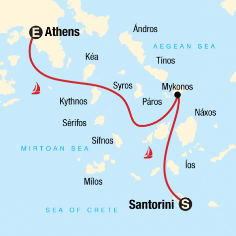 Sailing Greece - Santorini to Athens - Tour Map