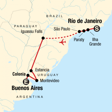 In Search of Iguassu–Rio to Buenos Aires - Tour Map