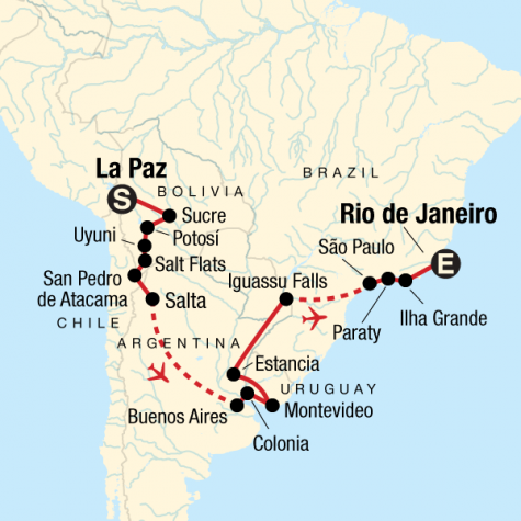 Journey from Bolivia to Brazil - Tour Map