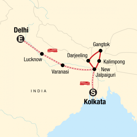 Northeast India & Darjeeling by Rail - Tour Map