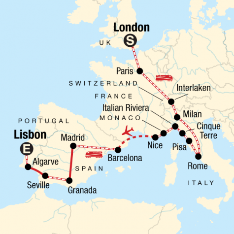 London to the Mediterranean on a Shoestring - Tour Map