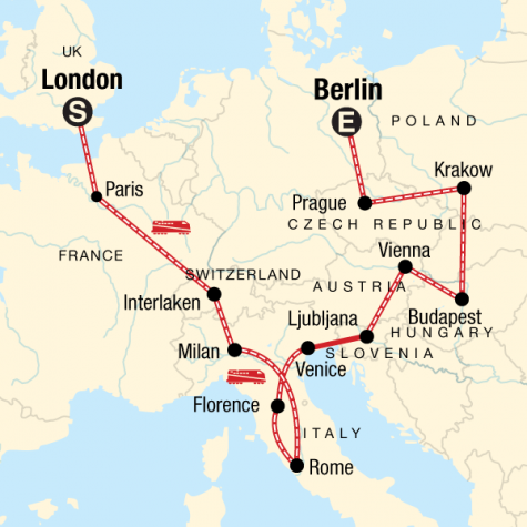London to Berlin on a Shoestring - Tour Map