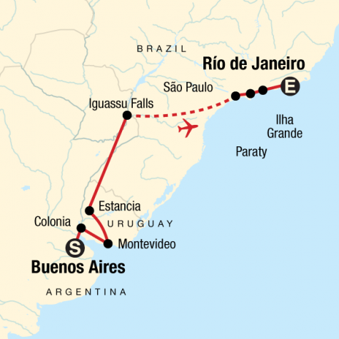 In Search of Iguassu–Buenos Aires to Rio - Tour Map
