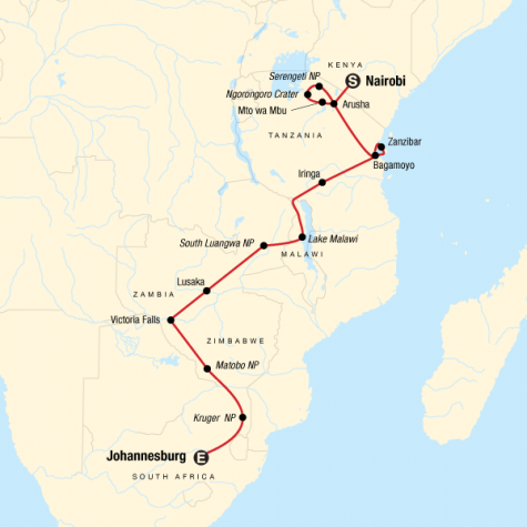 Falls, Beaches & Serengeti Adventure (Southbound) - Tour Map