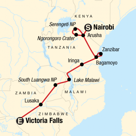 Serengeti to Victoria Falls Adventure - Tour Map