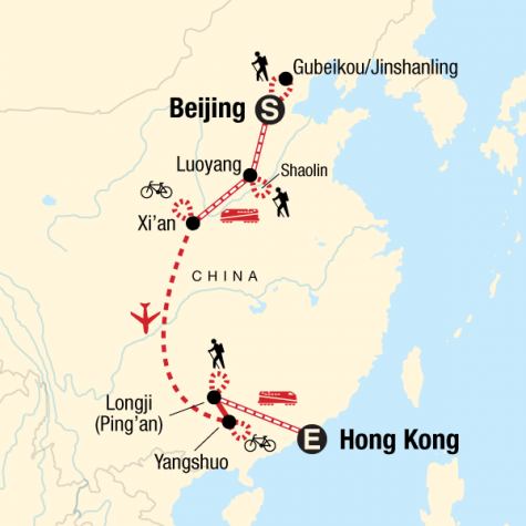 China Active Adventure - Tour Map