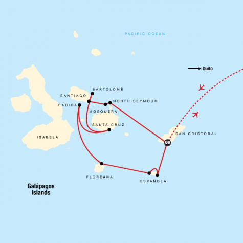 Galápagos — South & Central Islands aboard the Xavier III - Tour Map