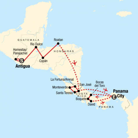 Volcano Adventure & Panama Highlights - Tour Map