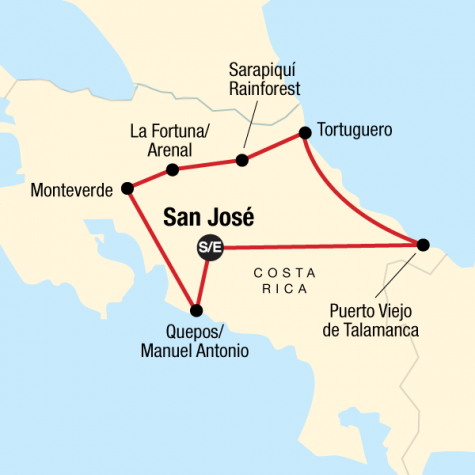 Costa Rica Adventure - Tour Map
