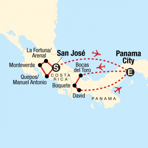 Costa Rica & Panama Quest - Tour Map