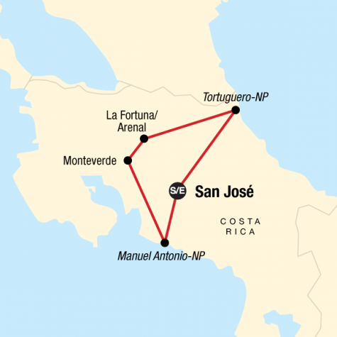 Explore Costa Rica - Tour Map