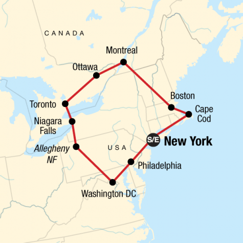 Highlights of the Eastern US & Canada - Tour Map
