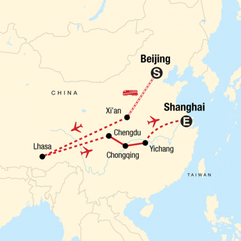 Iconic China: Beijing to Tibet - Tour Map