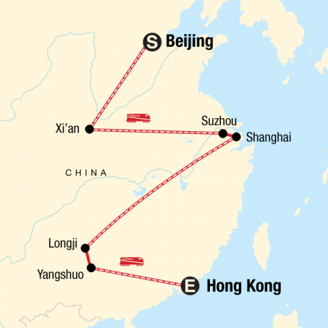 Classic Beijing to Hong Kong Adventure - Tour Map