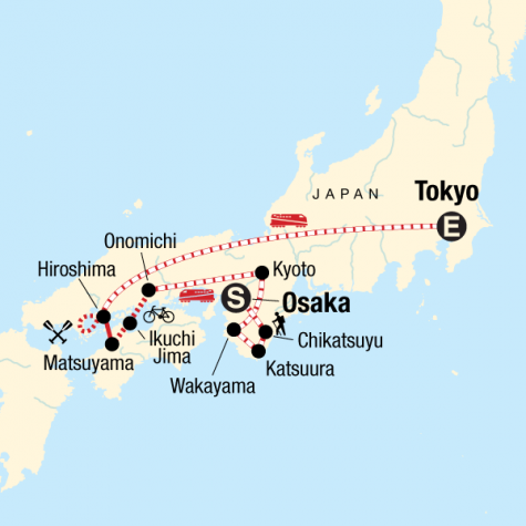 Japan Hike, Bike & Kayak - Tour Map