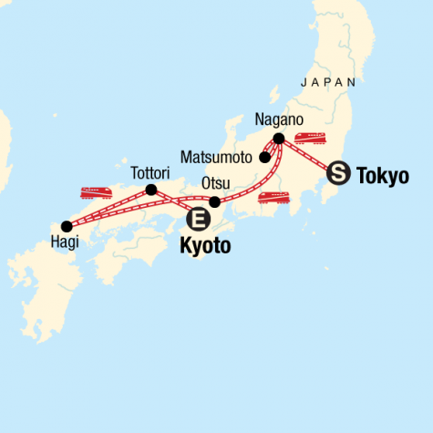 Backroads of Japan - Tour Map