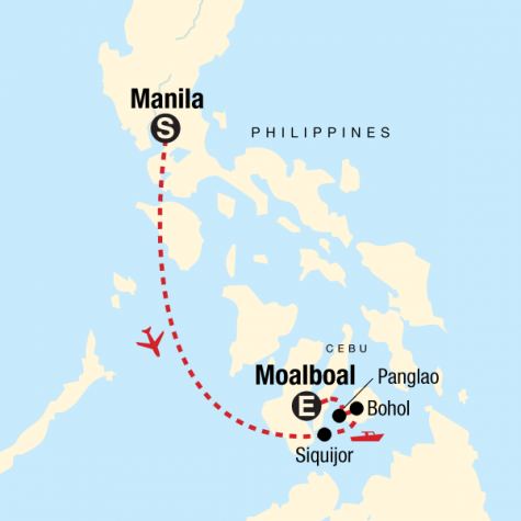 Islands of the Philippines on a Shoestring - Tour Map
