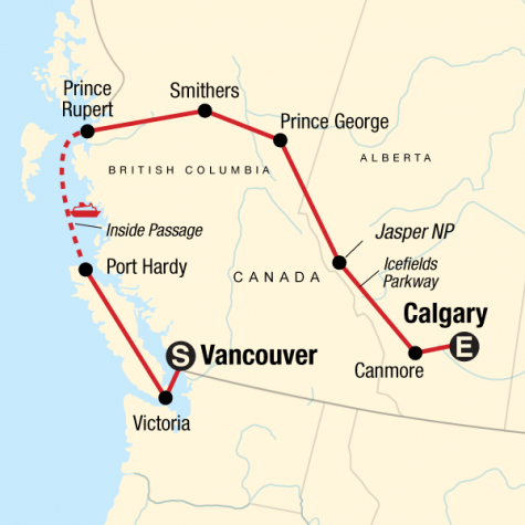 Vancouver Island & Northern Rockies - Tour Map