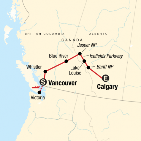 Discover the Canadian Rockies - Eastbound - Tour Map
