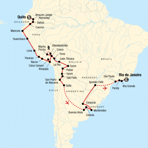 The Great South American Journey–Quito to Rio Adventure - Tour Map