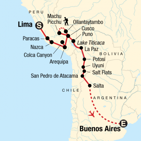 Lima to Buenos Aires Adventure - Tour Map