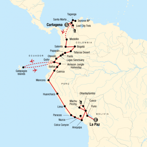 Colombia, Andes & Galápagos - Tour Map