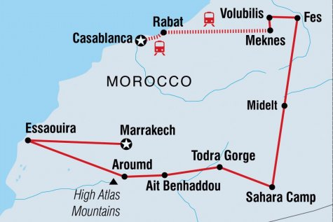 Best of Morocco - For Solo Travellers - Tour Map