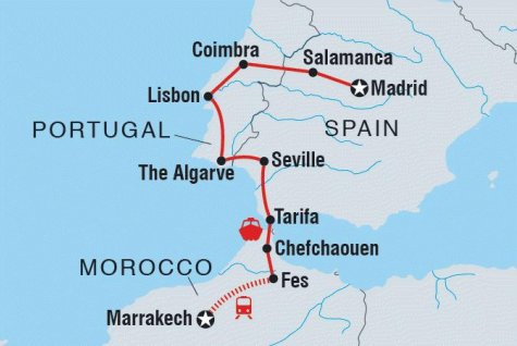 Madrid to Marrakech - Tour Map