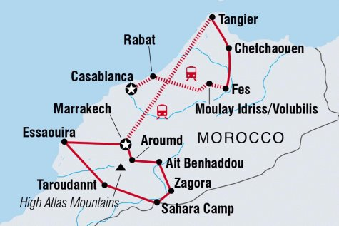 Morocco Encompassed - Tour Map
