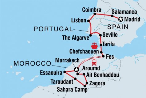 Spain, Portugal & Morocco - Tour Map