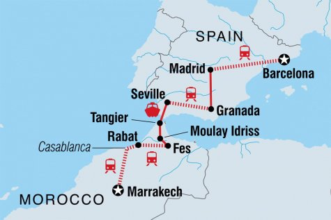 Marrakech to Barcelona - Tour Map