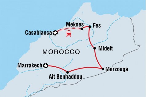 Best of Morocco Family Holiday - Tour Map