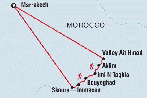 Morocco Expedition – Walking with Berber Nomads - Tour Map