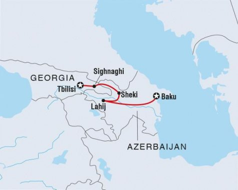 Highlights of Azerbaijan & Georgia - Tour Map