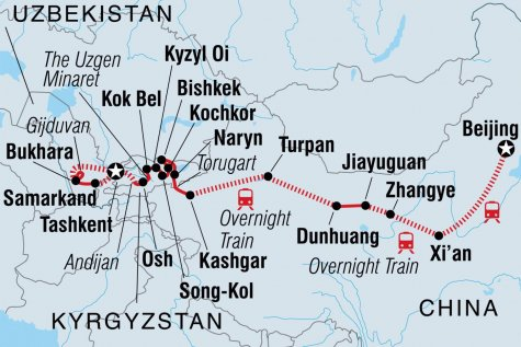 The Great Silk Road - Tour Map