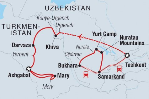 Uzbekistan & Turkmenistan Adventure - Tour Map