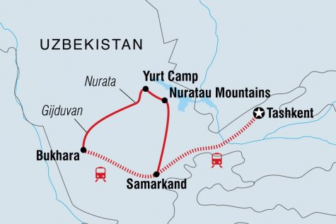 Uzbekistan Adventure - Tour Map