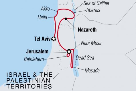 Discover Israel & the Palestinian Territories - Tour Map