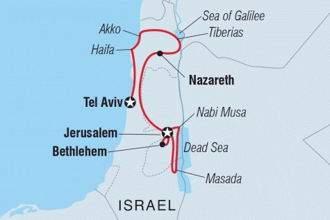 Christmas in Israel and the Palestinian Territories - Tour Map