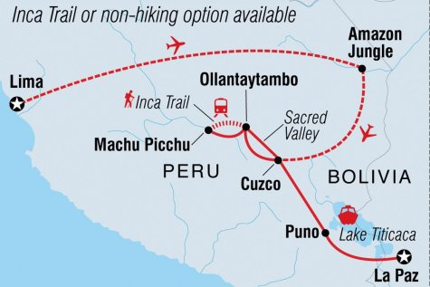 Sacred Land of the Incas - Tour Map