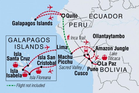 Galapagos & Peru Adventure - Tour Map